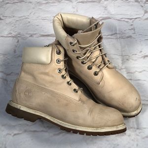 Timberland leather boots. Size 8.5 wide. Creme